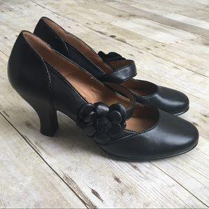 SOFFT Black Flower Comfy Mary Jane Heels Pumps